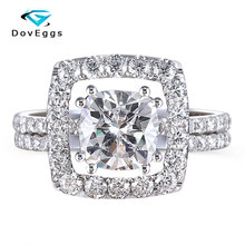 DovEggs Delicate 14k White Gold Center 1.5ct 7mm Cushion Cut F Color Moissanite Halo Engagement Ring Set with Accent for Women