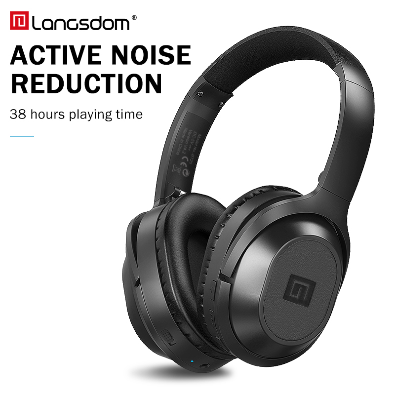 Langsdom BT25 Active Noise Cancelling Headphones Wireless Bluetooth Headset With Microphone for Phones ANC With Carrying Bag 38HLangsdom BT25 Active Noise Cancelling Headphones Wireless Bluetooth Headset With Microphone for Phones ANC With Carrying Bag 38H