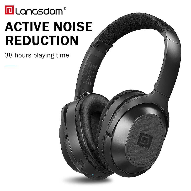Langsdom BT25 casque antibruit actif casque sans fil Bluetooth avec Microphone pour téléphones ANC avec sac de transport 38 H
