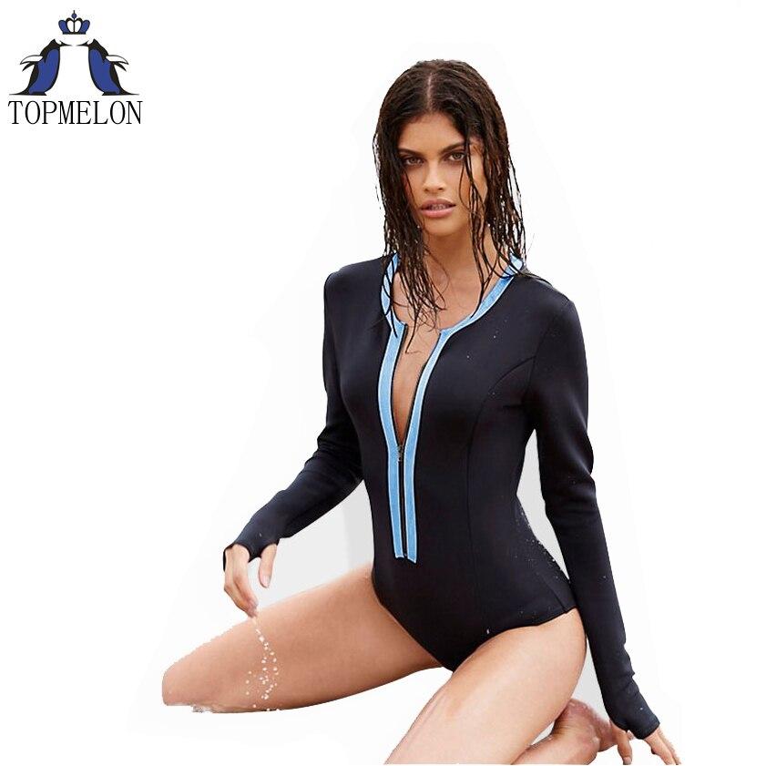 Una sola pieza traje de baño traje de baño de manga larga de las mujeres de una