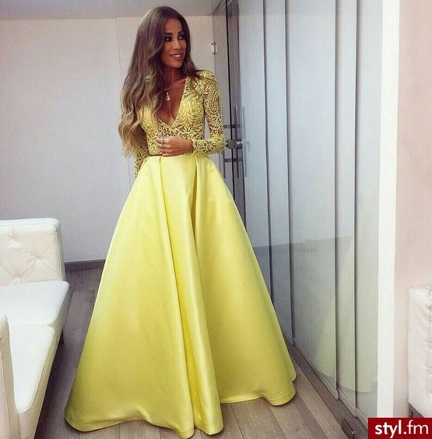 Sexy V Neck Prom Dresses 2017 A Line See Through Back Yellow Elegant ...