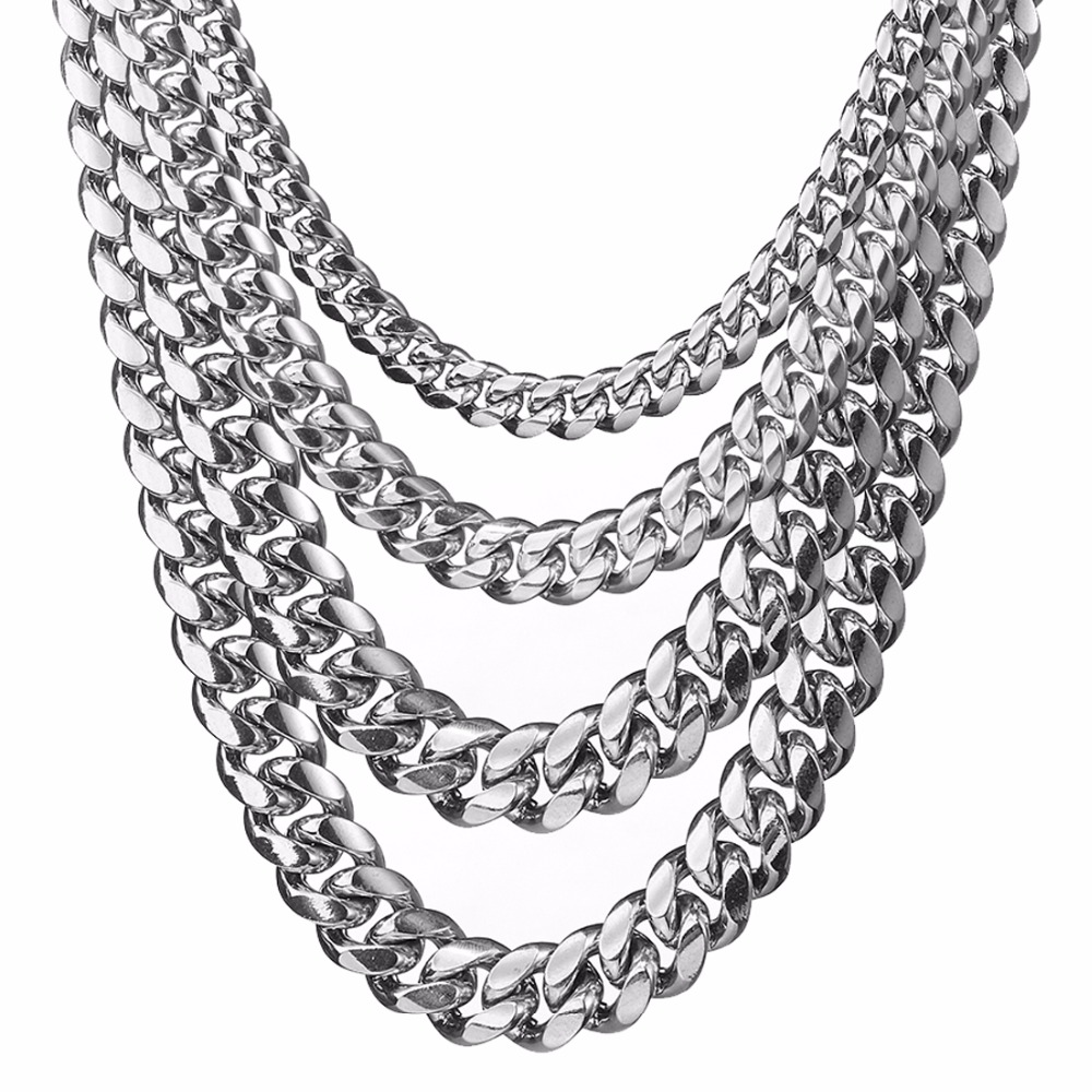 12//14//16mm Charming Mens Stainless Steel Cuban Curb Chain Link Necklace 7-40