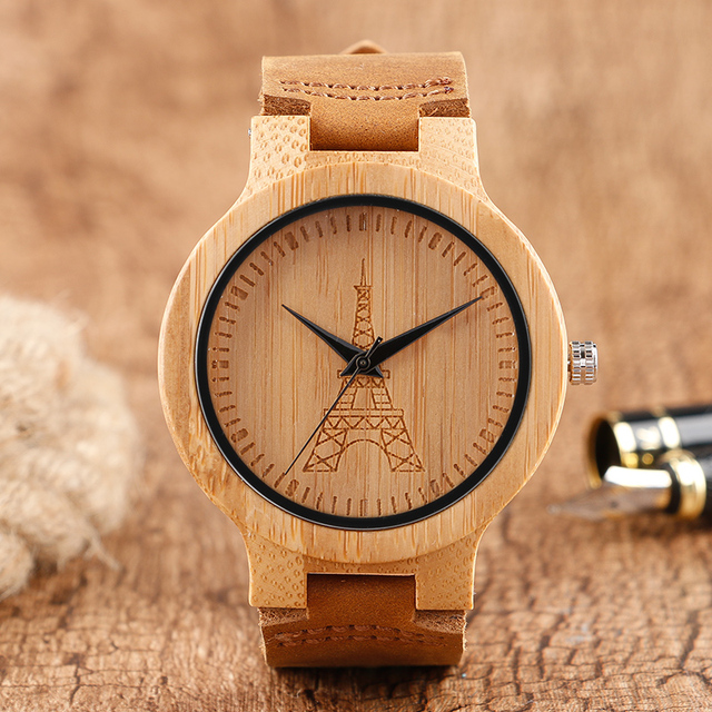 Kreative Kuhle Eiffelturm Gesicht Bambus Holz Armbanduhr Herren