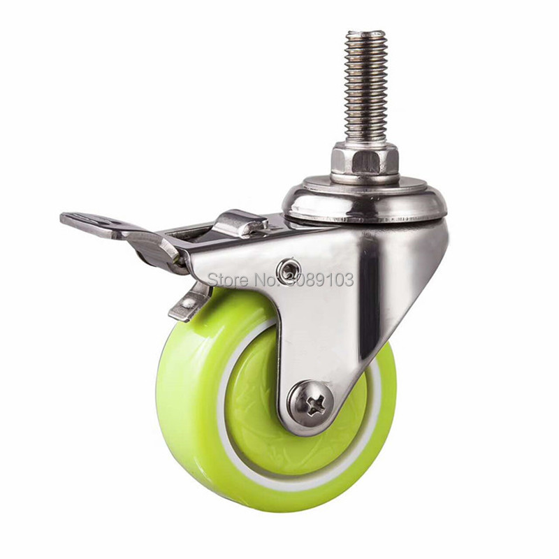 2 inch light duty stainless steel mini levelling stem swivel caster with brake green color and white 1 pcs plastic swivel 5 inch light duty pu caster directional lock medical caster