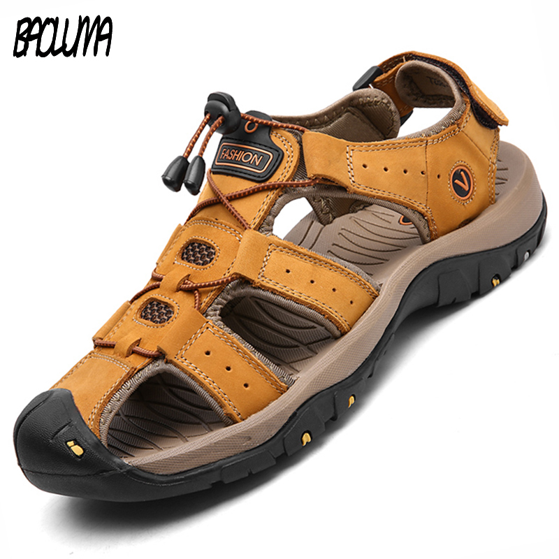 2018 Fashion Quality Genuine Leather Men Roman Sandals Mesh Soft Fisherman Summer Casual Shoes Men Beach Sandalias Men Shoes men sandals casual summer beach leather ankle strap cross tied gladiator shoes roman men sandals sandalias hombre