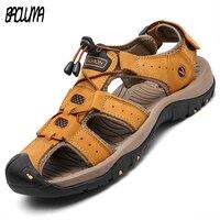 2018 Fashion Quality Genuine Leather Men Roman Sandals Mesh Soft Fisherman Summer Casual Shoes Men Beach