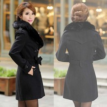 Big Faux Fur Collar Double-Breasted Women's Wool Blended Coat