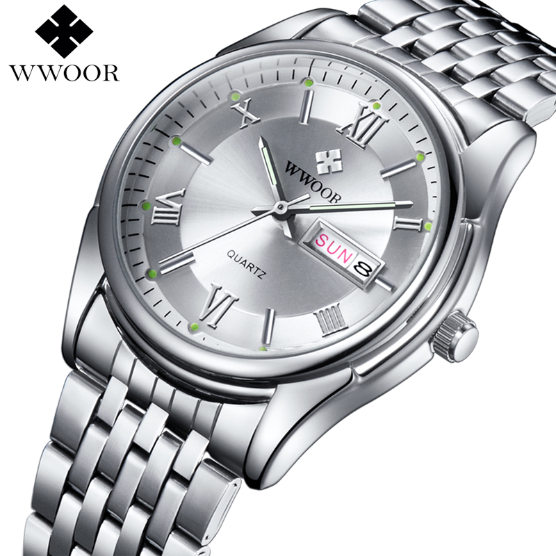 WWOOR Men Luxury Brand Date Watch Quartz Stainless Steel Band Luminous Clock Male Casual Sports Wristwatch relogio masculino luxury brand men casual quartz watch men luminous hour date clock male sports watch stainless steel wristwatch relogio masculino