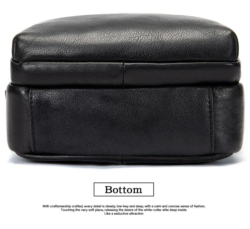 Men's Shoulder Bag for Men Crossbody Bags Genuine Leather Flap Small Male Bussiness Handbags with Zipper Messenger Bag 13
