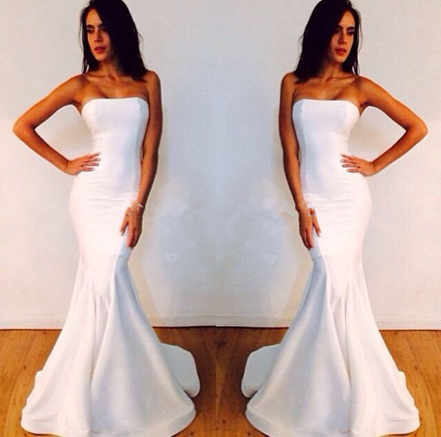 f5f811edc52e free shipping new Fashion Style Simple White Mermaid Prom 2019 Sexy  Strapless Long Cheap Party Gown