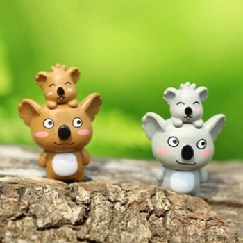 ZOCDOU 1 Piece Koala Mother and Son Zoo Model Small Statue Figurine Crafts Mini Ornament Miniatures DIY Home House Office Decor image