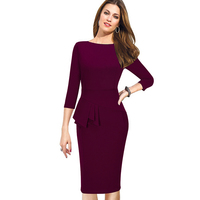 Autumn Winter Women Dress Three Quarter Sleeve Women Work Wear Dress Bodycon Pencil Ladies Formal Business