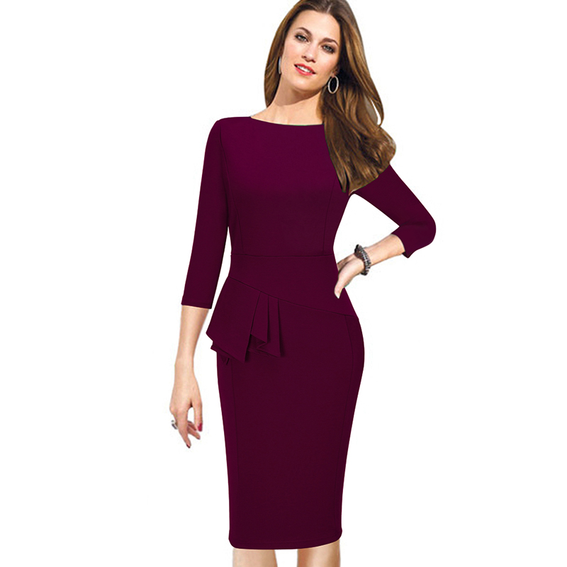 Autumn Winter Women Dress Three Quarter Sleeve Women Work Wear Dress Bodycon Pencil Ladies ...