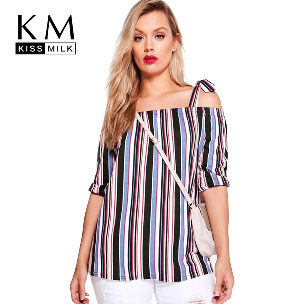 Kissmilk 2017 большой размер новая мода женщины clothing топы slash шеи С Плеча Полосатый Блузка Плюс Размер Рубашка 4XL 5XL 6XL