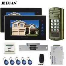 "JERUAN NEW 7"" Video Door Phone doorbell Intercom System kit 2 Black Monitor + Metal Waterproof Access Password HD Mini Camera"