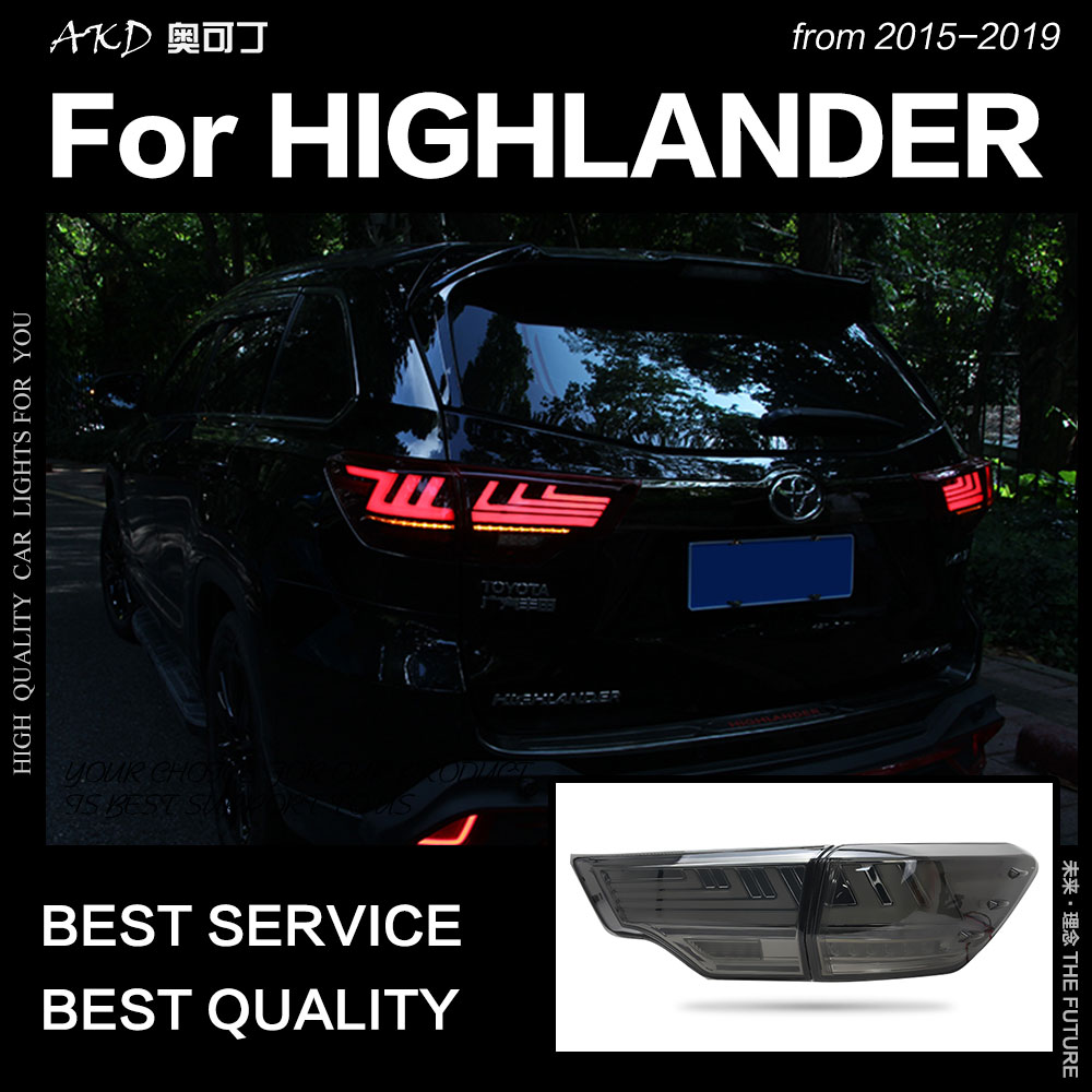 Car Styling for Toyota Highlander Tail Lights 2015 Kluger LED Tail Light Rear Lamp DRL Dynamic