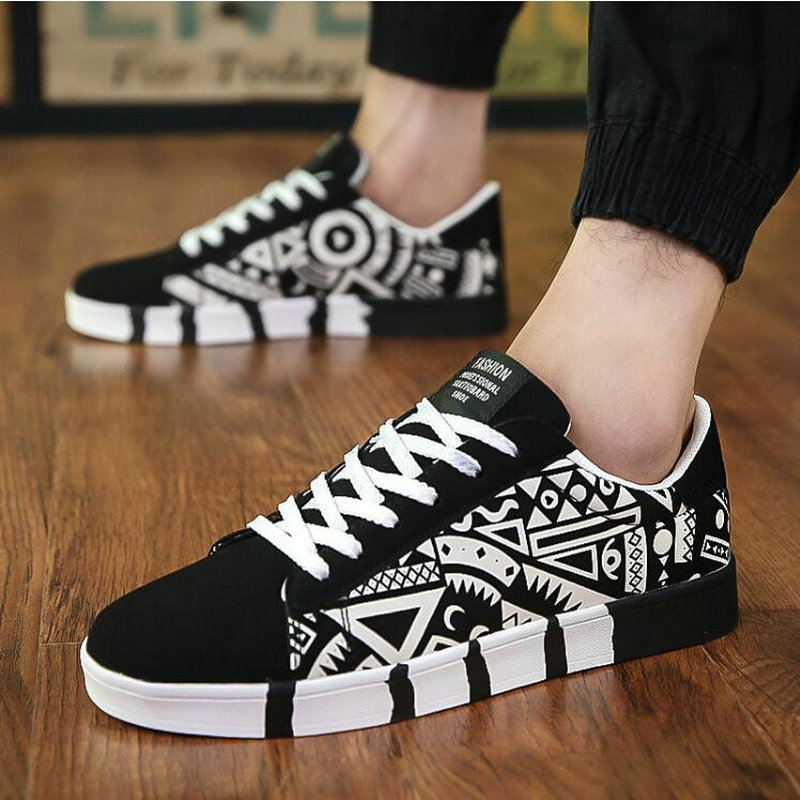 2019 Spring New Brand Non-slip Mens Skateboarding Shoes Outdoor Walking Shoes Breathable Canvas Print Trainers Shoes  HE-58