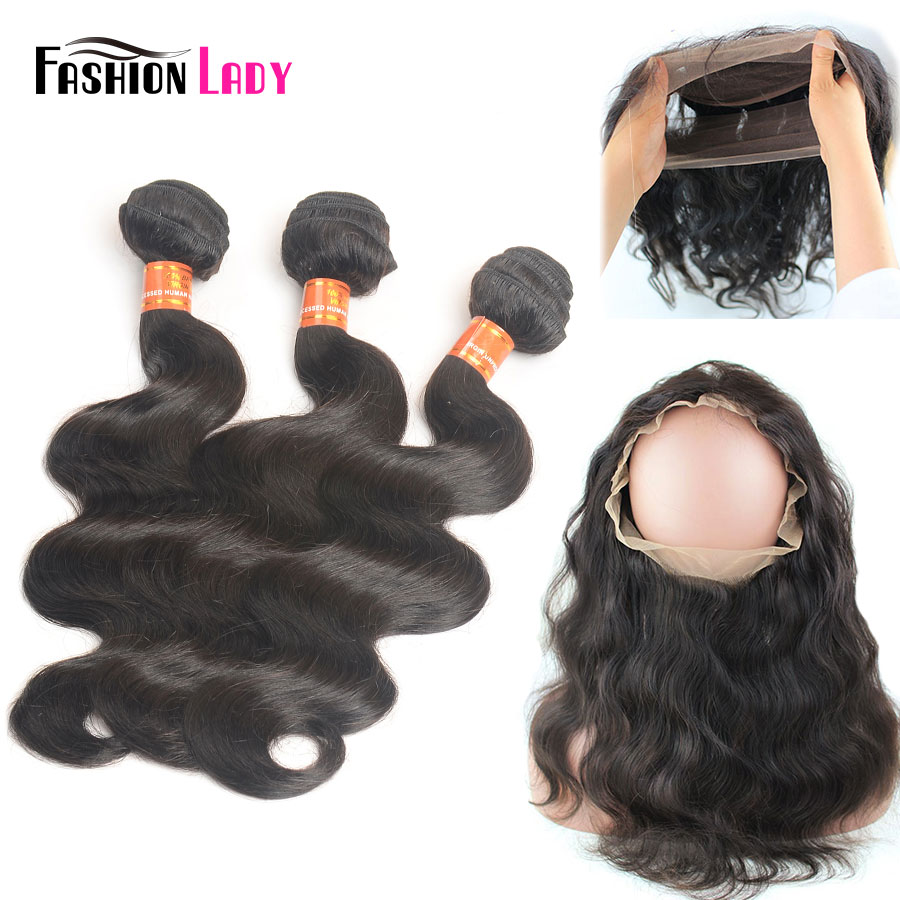 Fashion Lady Pre Colored Remy Brazilian Hair Weave Bundles With 360 Frontal Closure 3 Bundles Human Hair Body Wave bundles