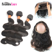 Fashion Lady Pre-Colored Remy Brazilian Hair Weave Bundles With 360 Frontal Closure 3 Bundles Human Hair Body Wave bundles
