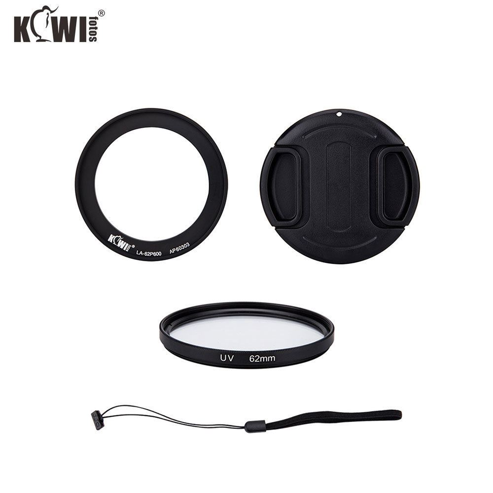 Kiwi 4-in-1 Lens Adapter Ring 62mm Filter Lenscap for Nikon Coolpix B700 P600 P610 P610S with Len Cap Keeper