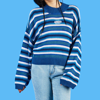 Harajuku Unif Sweater Women 2018 Autumn Winter Striped Sweaters and Pullovers Letter Embroidery Oversized Jumper Women Knitwear