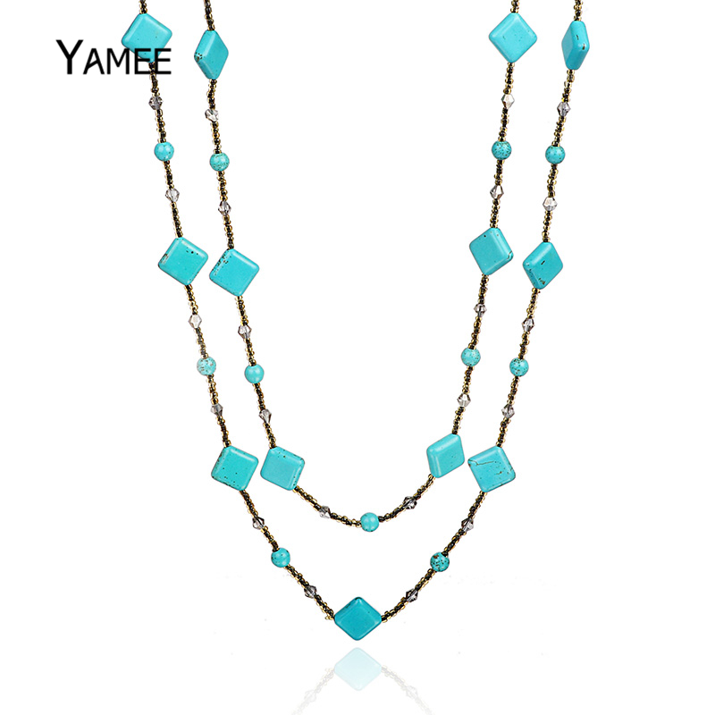 Fashion Square Blue Glued Turquoises Beads Long Chain Sweater Necklace Natural Gem Stone Bead Strands Charm Jewelry For Women fashionable women s bead designed ellipse sweater chain necklace