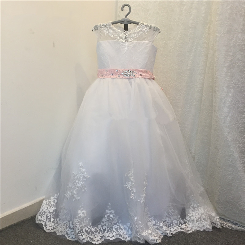 White Lace Flower Girl Dresses Lovely Beaded Sash First Communion Gown For Girls 2017 Cheap Girls Pageant Dress fancy pink little girls dress long flower girl dress kids ball gown with sash first communion dresses for girls