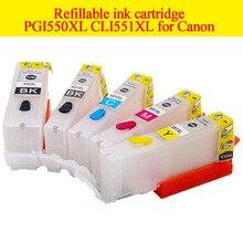 5color Refillable ink cartridge PGI550XL CLI551XL for Canon PIXMA IP7250 MG5450 MG5550 MG5650 MG6450 MG6650 for PGI 550 CLI 551