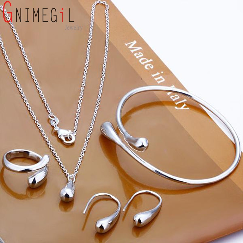 Fashion Wedding Bridal Jewelry Set 925 Stamped Silver Water Drop Bangles+Necklace+Rings+Earrings Sets for Women(China)