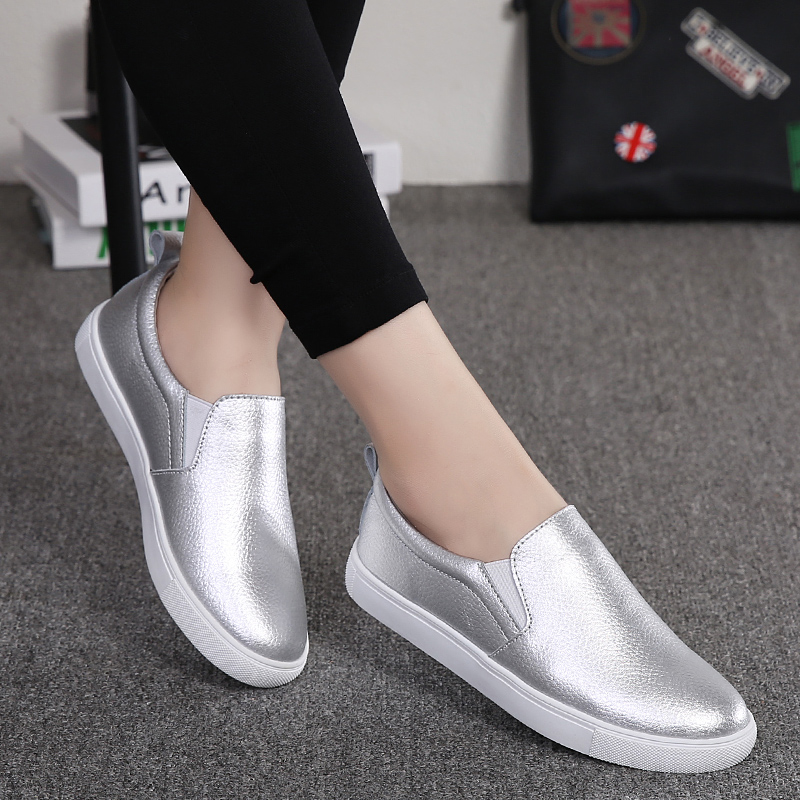 GAD Women Leather Casual Shoes Waterproof Slip on Women Sneakers Sliver Fashion Flat Shoes for Young Girls