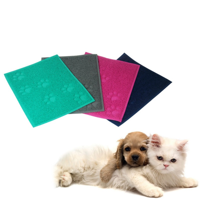 Newest 30 * 40cm Pet Cats And Dogs Cushions Rectangle PVC Material Feeding Mat Cute Puppy Paw S