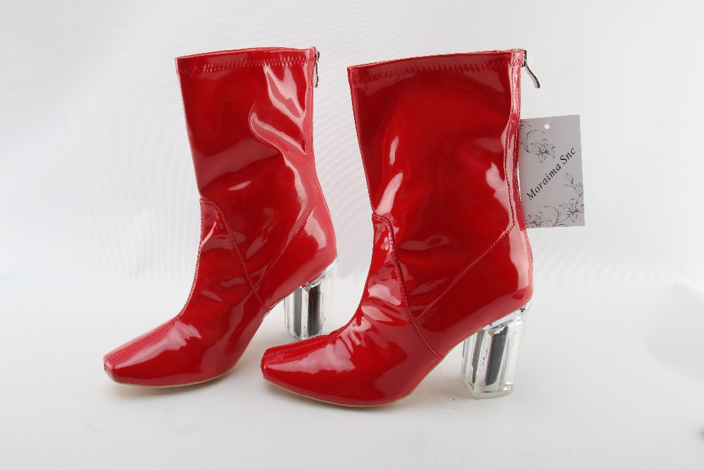 Moraima Snc red boots Transparent high heels boots women square toe mid-calf rainboots sexy ankle boots for women bottine femme