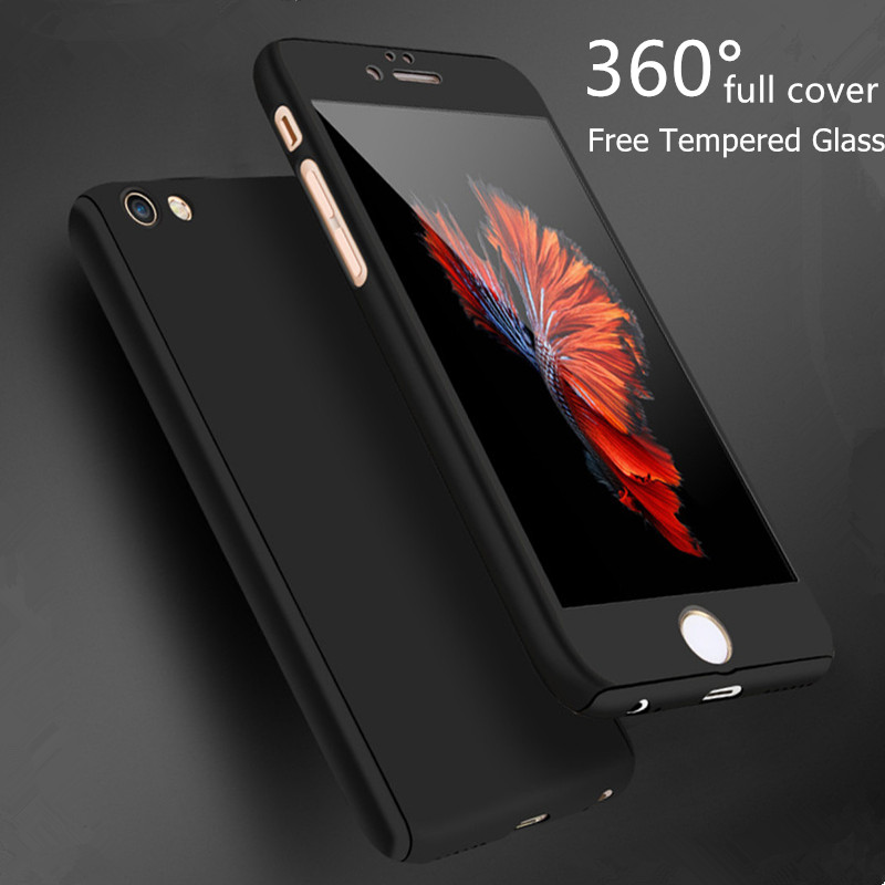 Luxury 360 Degree Full Body Protection Matte Phone Case For iPhone 6 6S 7 Plus 5 5S SE Case Cover For iPhone 6S Case +Film Glass