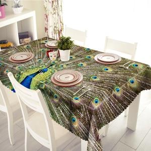 3D Красивая скатерть с изображением павлина, Милый Попугай, водонепроницаемая плотная прямоугольная и Круглая Скатерть для свадьбы