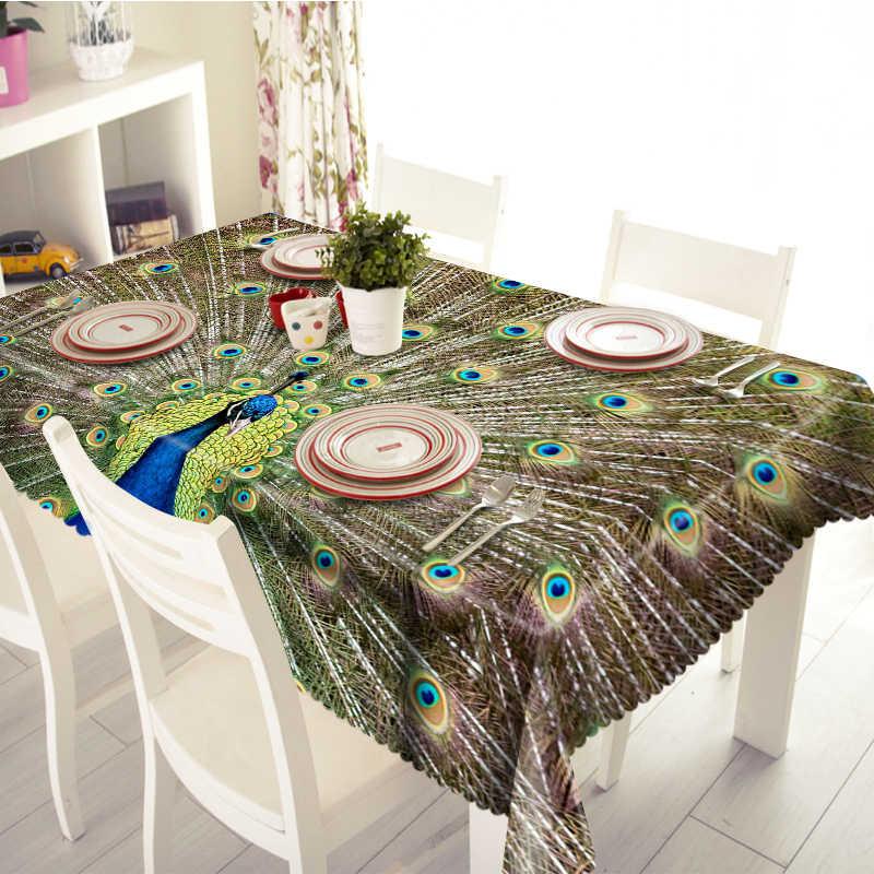 3D Красивая скатерть Павлин Милый Попугай узор водонепроницаемый утолщаются прямоугольные и круглые скатерти для свадьбы