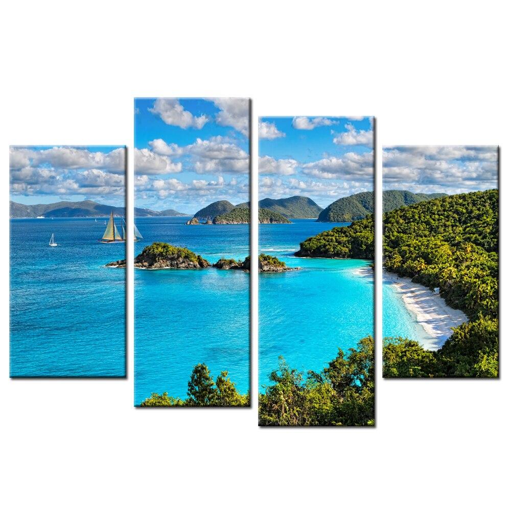 4 panely Spray nástěnná malba modrá obloha a bílé mraky Výhled - Dekorace interiéru
