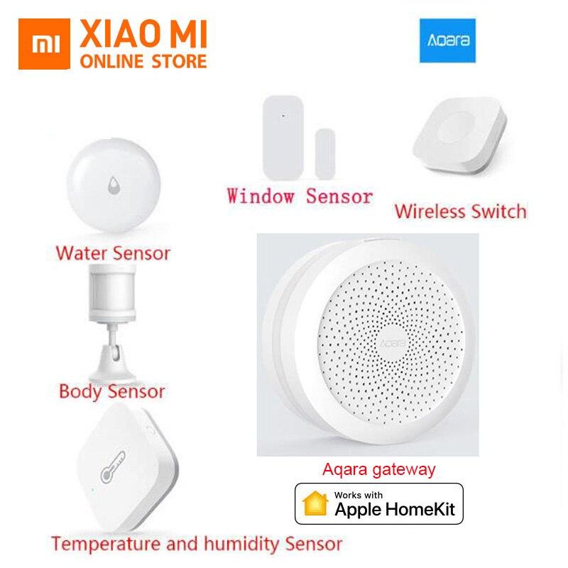 Xiaomi aqara Hub Smart Home Kits pasarela pared interruptor inalámbrico humedad movimiento agua puerta Sensor dos vías módulo de Control homekit
