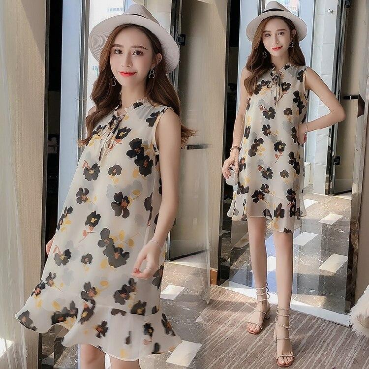 Летнее платье для беременных женщин 2018, шифоновое большого размера с цветочным принтом, платье для беременных женщин, MD 00191 Платья      АлиЭкспресс