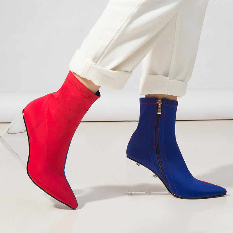 MORAZORA 2020 new arrival women ankle boots mixed colors Elastic socks boots zip transparent wedges party dress shoes woman