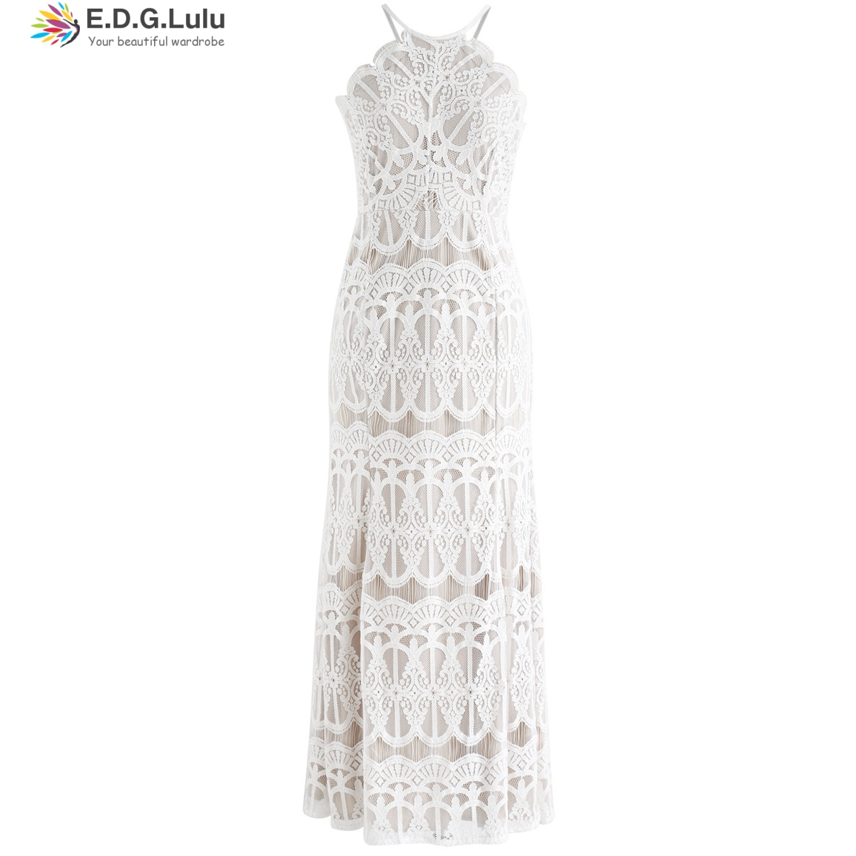 EDGLulu white lace <font><b>dress</b></font> backless sexy party summer <font><b>dress</b></font> 2019 fashion long <font><b>dress</b></font> new arrival runway beach <font><b>dress</b></font> image