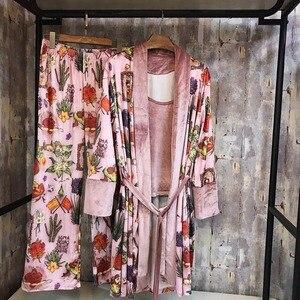 Image 5 - Fashion Autumn Multicolor Print Velvet Women 3 Pieces Pajama Sets Winter Vintage Sexy Robe Sets Elegant Female Nightwear E2582