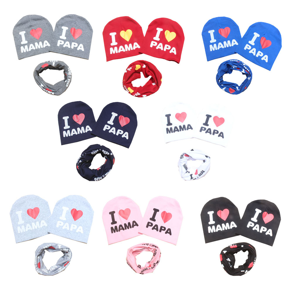 new cotton star mom papa baby scarf +beanie sets boys girls two pc cap collar suits head wear accessories children kids hats