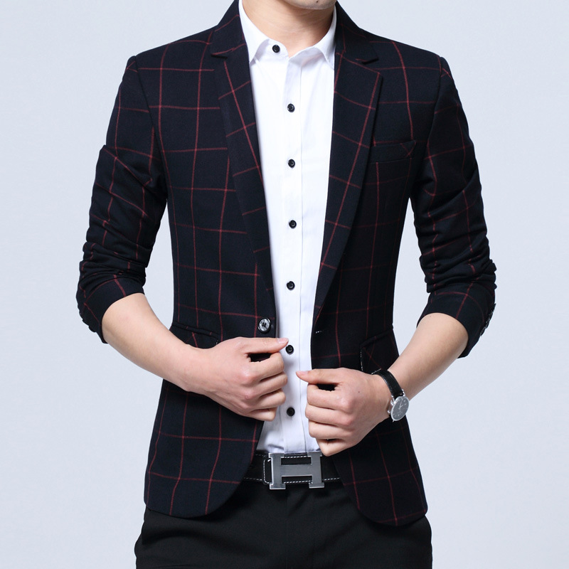 autumn of 2018 mens plaid blazer business and leisure travelers Cultivate ones morality  ...