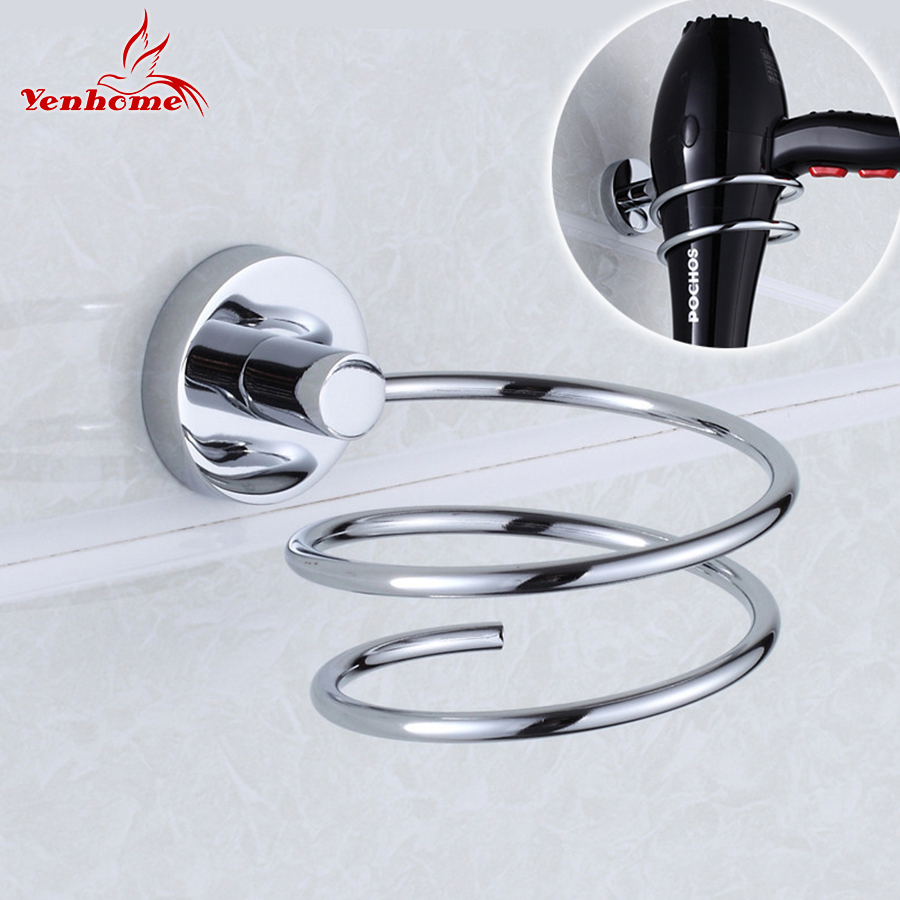 цены на 304 Stainless Steel Metal hair dryer rack for Wall Shelf rack Stand Wall-mounted Bathroom Walls Shelf Storage Hairdryer Holder