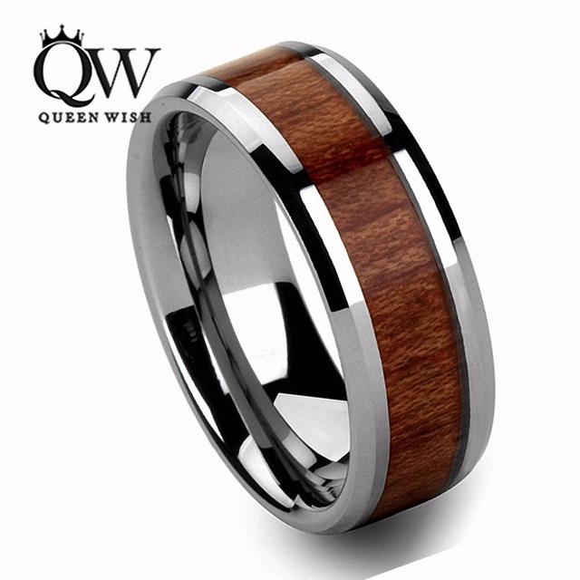 Queenwish Mens Wedding Bands 8mm Vintage Hawaiian Koa Wood Inlay Silver Tungsten Ring Infinity Eternity