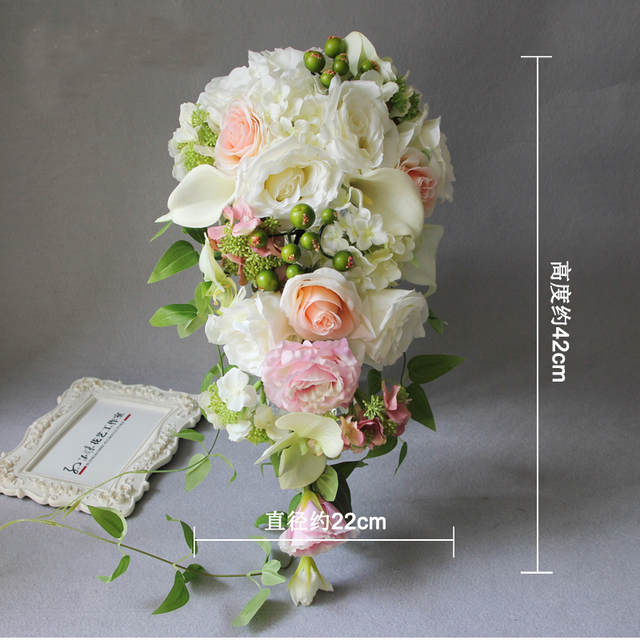 Bouquet Sposa A Goccia.A Forma Di Goccia Cascata Da Sposa Damigella D Onore Bouquet