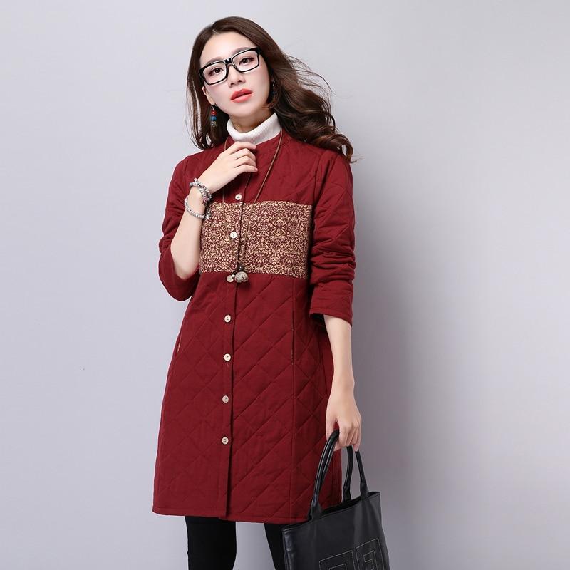 2017 New Winter Fashion Basic Coat Women Vintage Embroidery Print Jacket Ladies Ethnic Style Slim Jackets