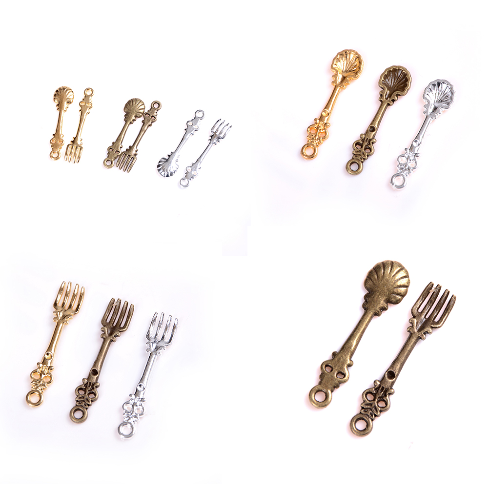 10pcs Mini Dollhouse Tableware Silver Spoon Kids Childrens Pretend Play Toy