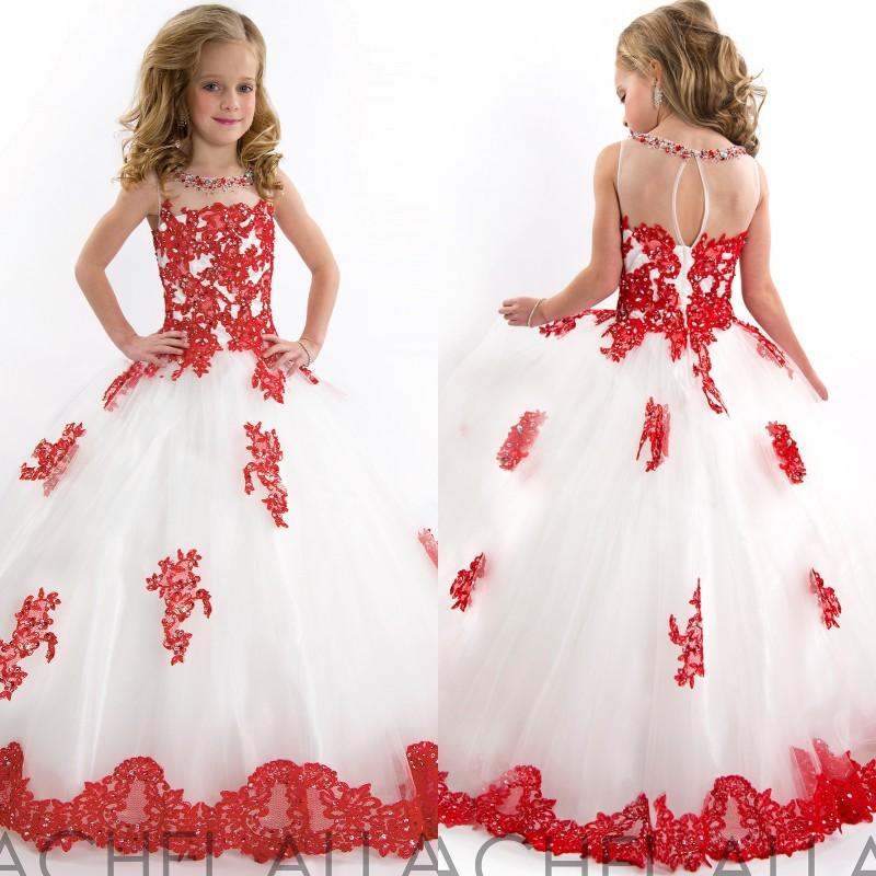 Best Selling White and Red Wedding Party   Flower     Girls     Dresses   O-Neck Floor Length Lace Appliqued Children Pageant   Dresses
