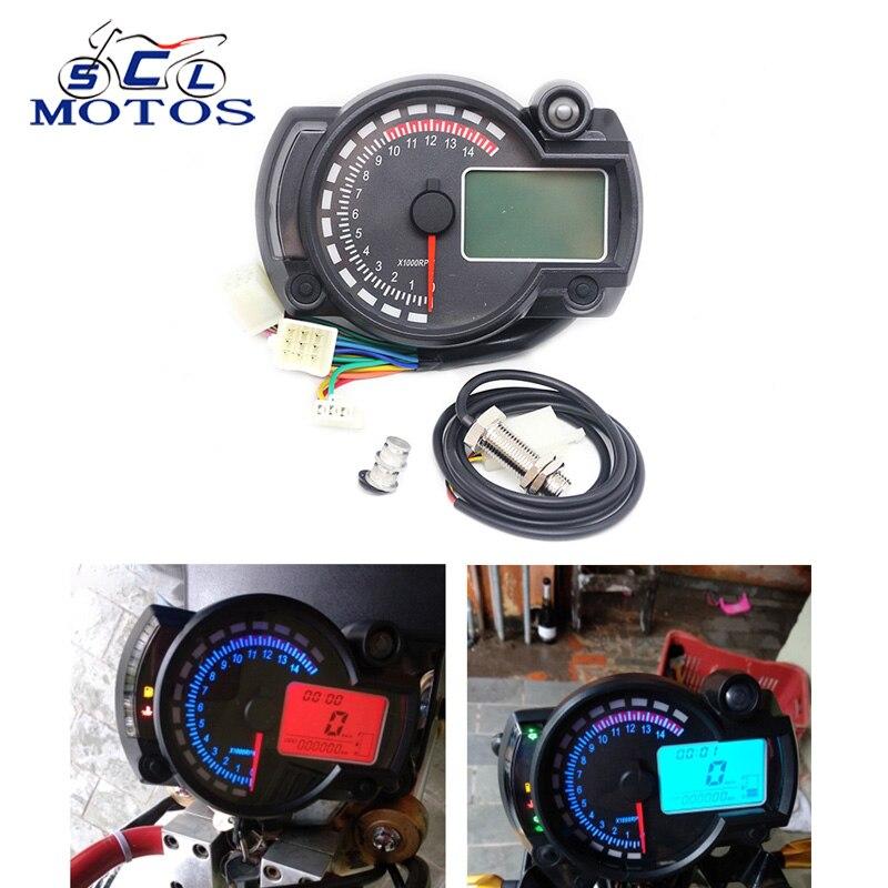 Sclmotos Universal Motorcycle Odometer LCD Gauge Digital Speedometer Tachometer Gauge RPM 15000 for 8 22 inch wheel Racing